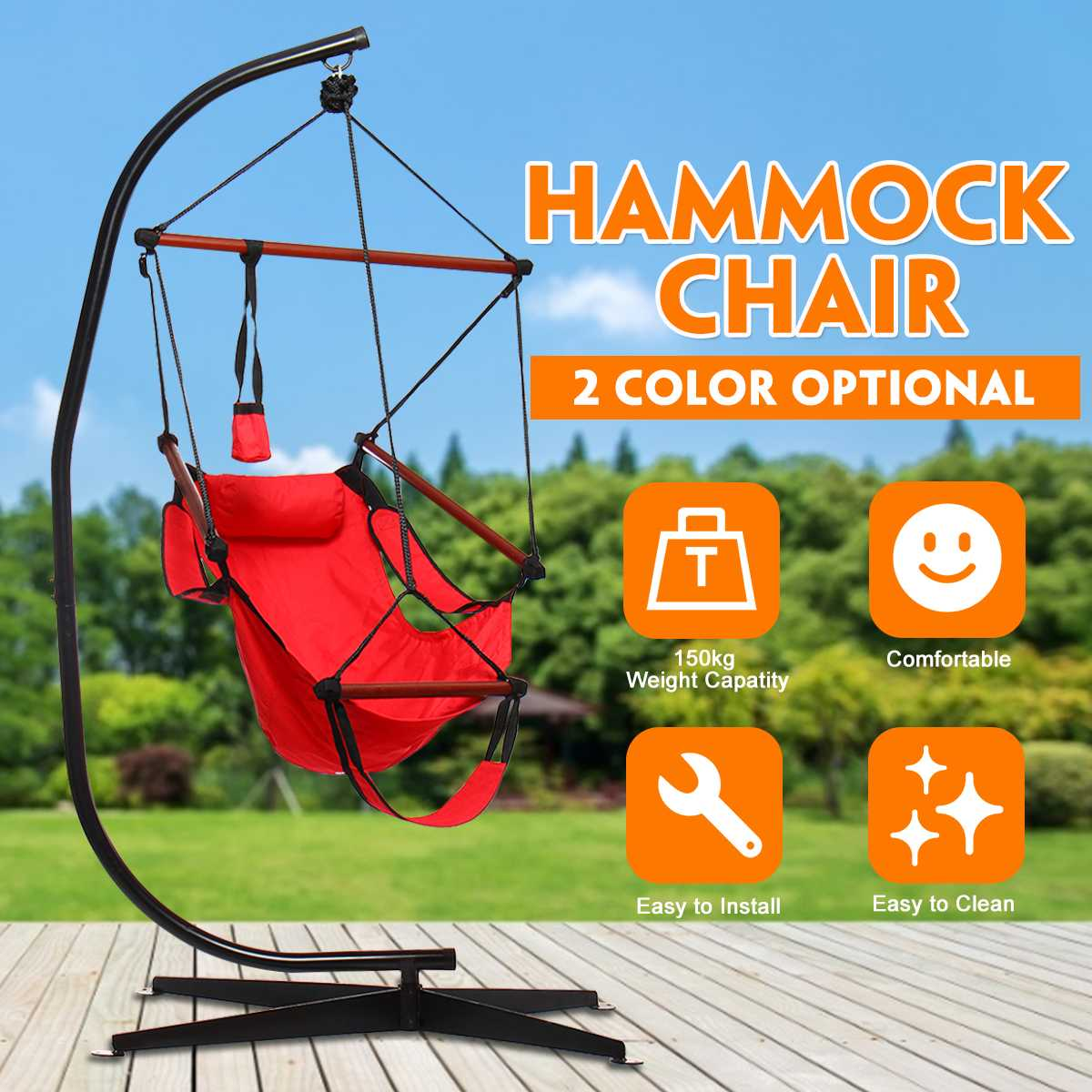 Adult Swing Chair University Dormitory Lazy Cradle Hammock Outdoor  Indoor Swing Patio Balcony With Metal Stand Camping