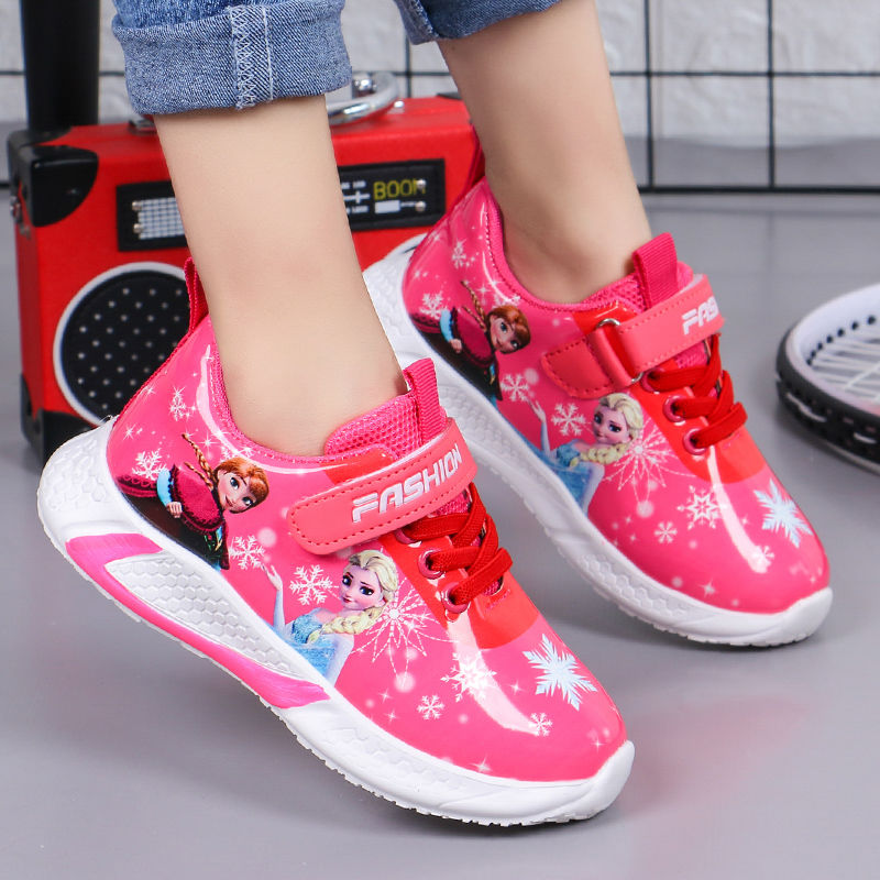 Children Shoes Girls Sneakers Spring Cartoon Cute Princess Shoes Students Leather Breathable Non-slip Dad Sneakers Shoes