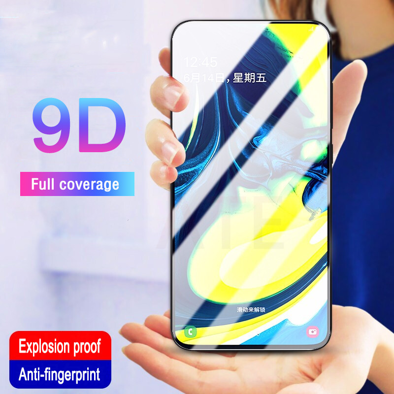 9D Full Cover Tempered Glass For Samsung Galaxy A80 A90 A70 A60 A30 A40 A50 A10 Screen Protector For Samsung M10 M20 M30 M40 in Phone Screen Protectors from Cellphones Telecommunications