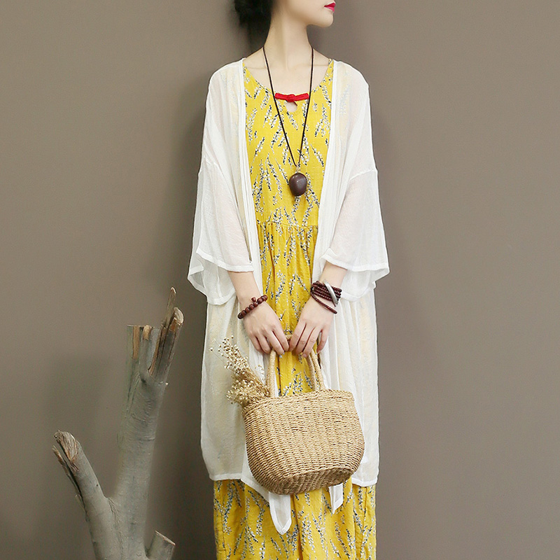 In Summer, A Very Immortal Sun-proof Cardigan Is Loose, Large Size, Super Fairy Thin Silk Chiffon, Medium And Long.