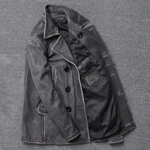 Image 3 - YR!Free shipping.classic gray long casual leather jacket,mens vintage slim genuine leather coat.plus size,cowhide overcoat