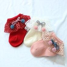 Носки с бантиком для малышей, осенне-зимние кружевные носки принцессы, хлопковые короткие носки для маленьких девочек, одежда для новорожденных 0-1 лет