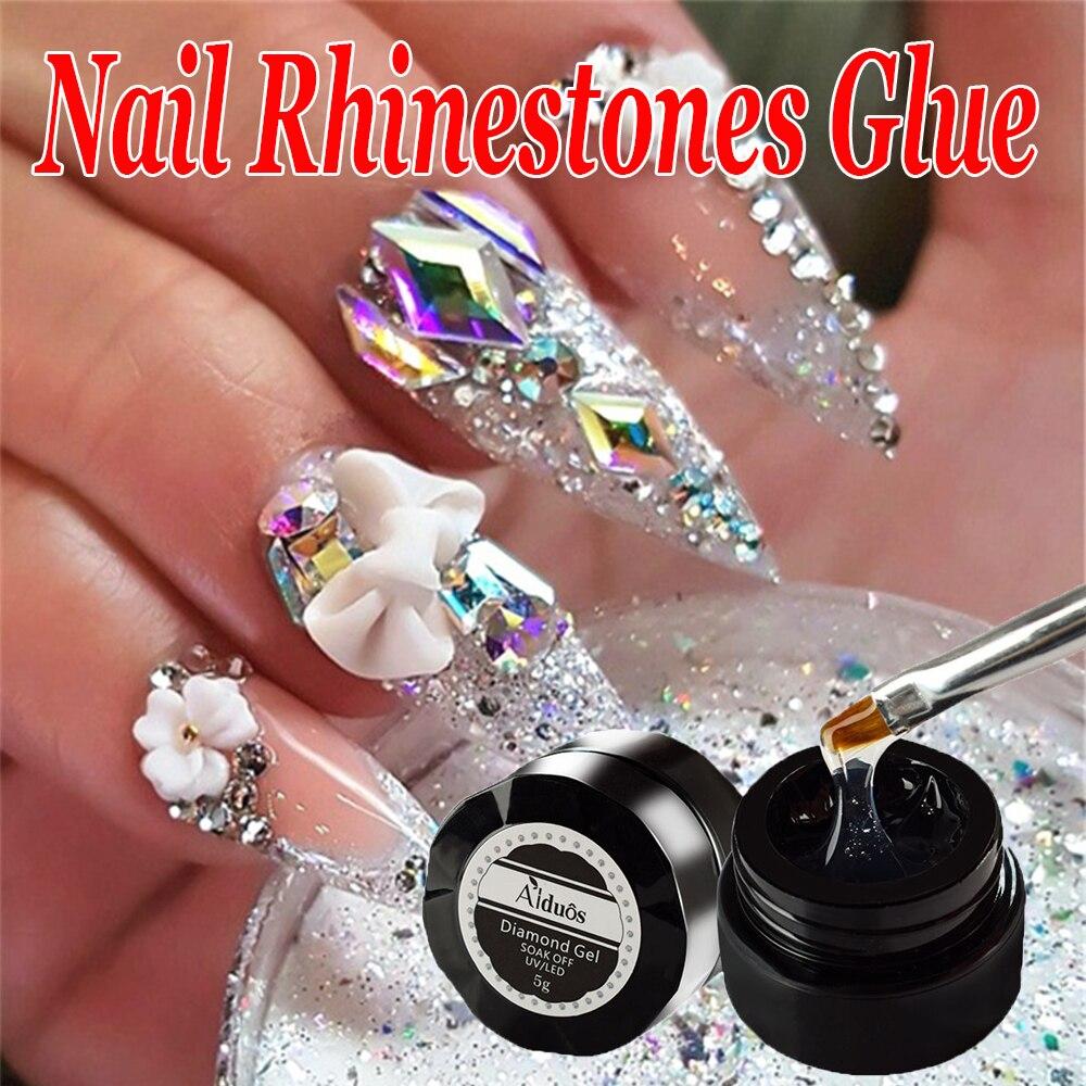 Суперпрочный клей для верхнего покрытия, 1 шт., 4 в 1, Прозрачный Гель-лак для ногтей, украшения для дизайна ногтей, Кристальные липкие камни