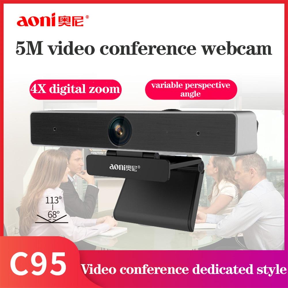 Aoni C95 Webcam Full 1080p Autofocus 5M HD Video Conference Camera Meeting 4X Digital Zoom Web Camera Teaching Training Web Cam