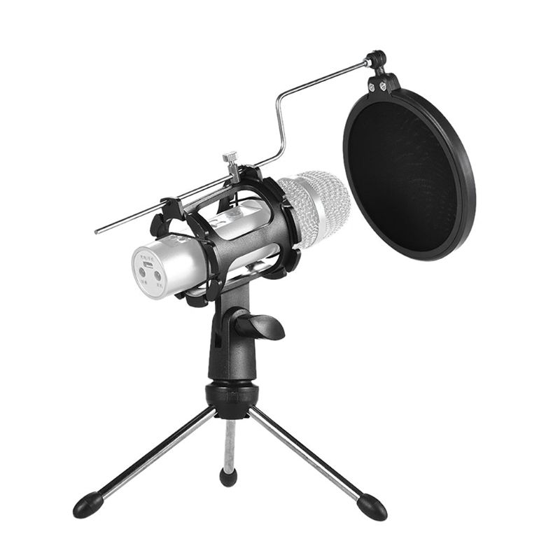 Professional Mic Stand Tripod Microphone Holder Adjustable Windscreen Acoustic Filter Bracket Cover for Audio Studio Office
