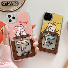 GTWIN Cartoon Quicksand Rabbit bere perla latte tè custodia per telefono per iPhone 11 Pro X XS Max XR 7 8 Plus custodia morbida in TPU posteriore