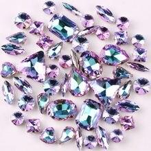 Argento le impostazioni di artiglio di 50 pz/borsa forme della miscela Viola arcobaleno di vetro cuce sul rhinestone di cristallo pattini di vestito da sposa borse fai da te trim