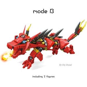 Image 3 - Ninja Series Kais Flying Red Ninja Dragon Fighting Mech Set 2in1 Set Figures Educational Building Blocks Toys For Children Gift