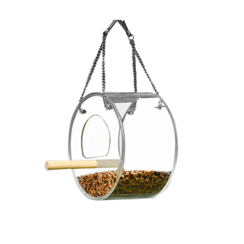 Acrylic Bird Feeder Food Box Pet Bird Cage House Anti-Scatter Parrot Feeder Stand Round Triangle Bird Feeder 2