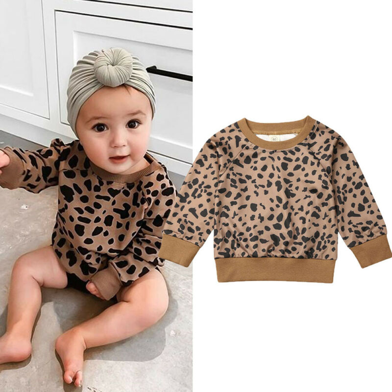 Baby Sweater Children's Leopard Bunny Print Sweaters Girl Boy Clothes Fashion Cute Toddler Girl Clothes Spring Autumn 0-5T Wear