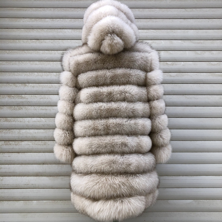 100% Natural Real Fox Fur Coat Women Winter Genuine Vest Waistcoat Thick Warm Long Jacket With Sleeve Outwear Overcoat plus size 107