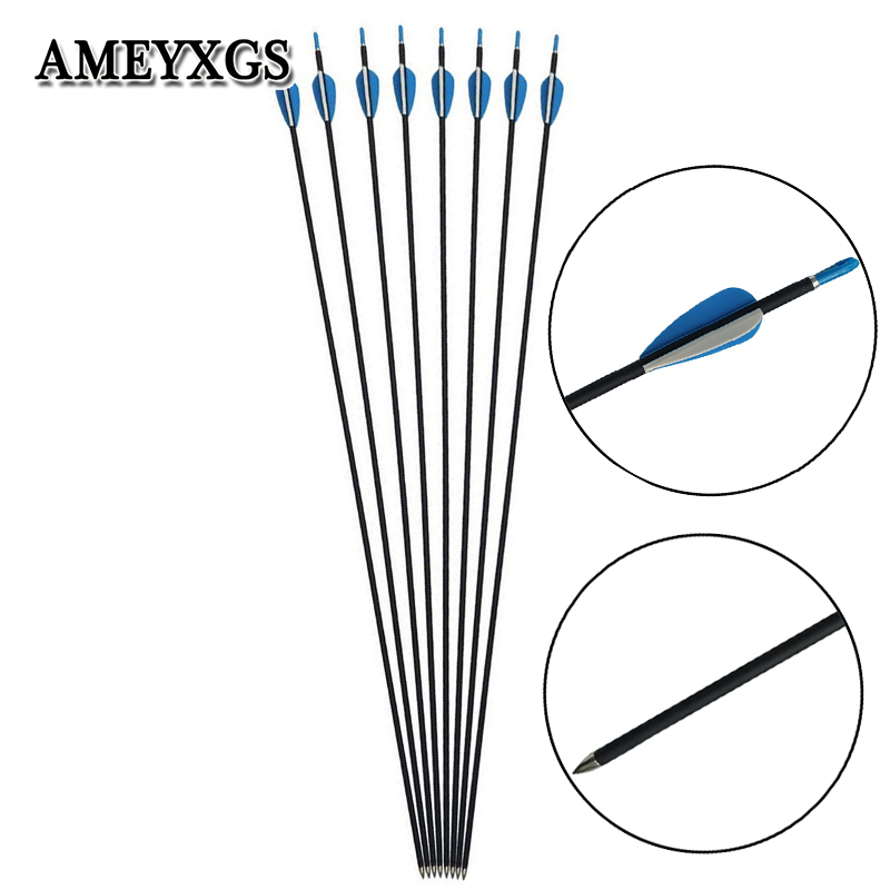 6/12pcs Archery 1000 Spine Composite Carbon Arrows 31.8inch Arrow Shaft For Hunting Shooting Compound Bow Training