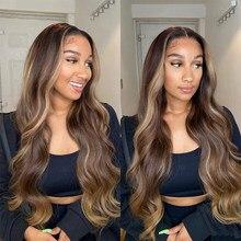 Perruque Lace Front Wig Body Wave brésilienne Remy, cheveux naturels, brun blond ombré, à reflets, 180% T