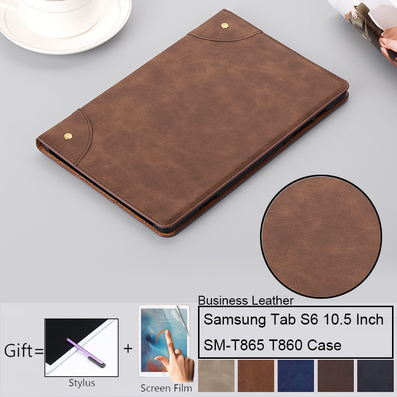 Retro Leather Case For Samsung Galaxy Tab S6 10.5 SM-T860 SM-T865 T860 T865 Cover Soft Smart Case For Samsung Tab S6 10.5 Inch C