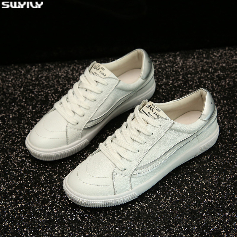 SWYIVY Leather Shoes Woman White Sneakers Flat Female Shoes Spring 2020 Fashion Chunky Sneakers For Women Breathable Ladies Shoe