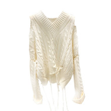 Autumn Sweater New Style Women Fringed Stitching Shoulder-leaking Hollow Twist Knitted Sweater V-Neck Pullovers Sweater Women twist front navel baring v neck sweater
