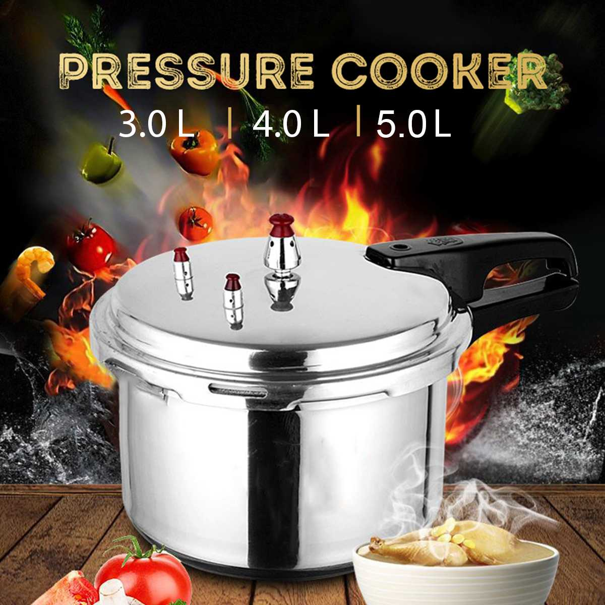 Kitchen Pressure Cooker Cookware Soup Meats pot 18/20/22cm Gas Stove/Open Fire Pressure Cooker Outdoor Camping Cook Tool Steamer 1