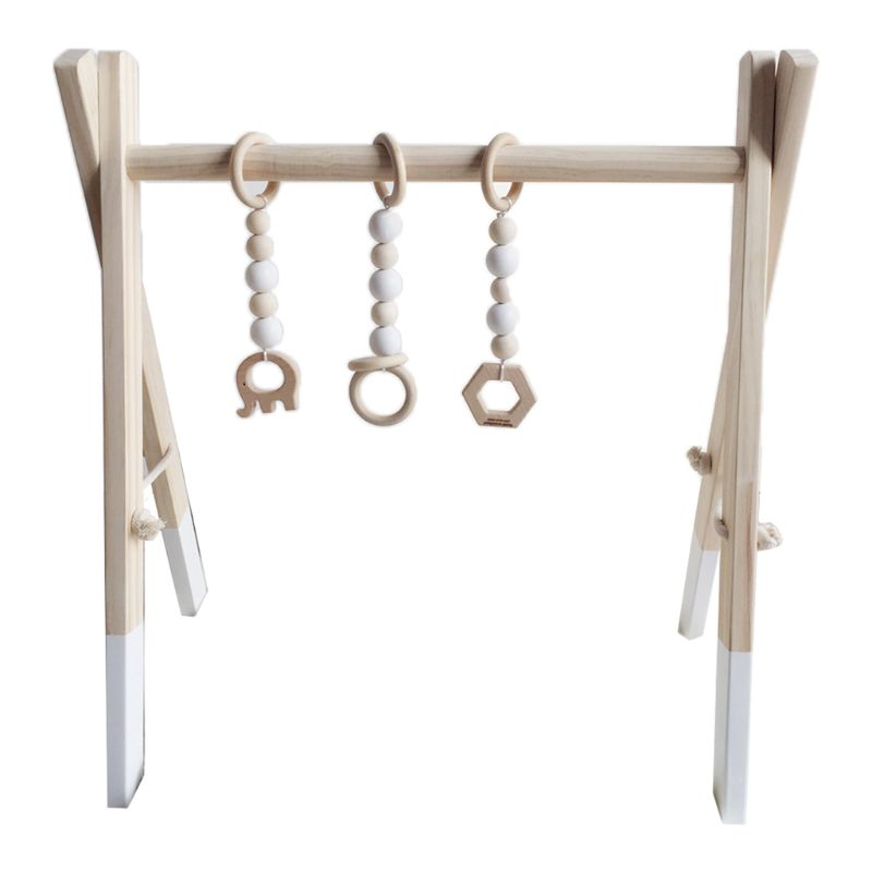 Nordic Style Baby Gym Play Frame Wooden Infant Nursery Sensory Ring-pull Toy 72XC