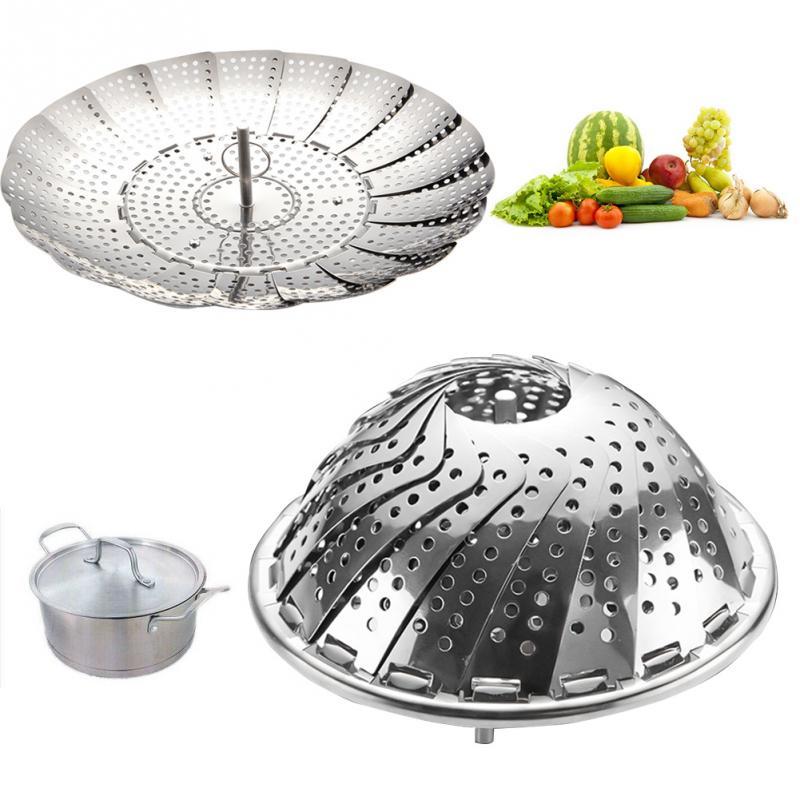 Folding Dish Steam Stainless Steel Food Basket Mesh Vegetable Vapor Cooker Steamer Expandable  Kitchen Tool