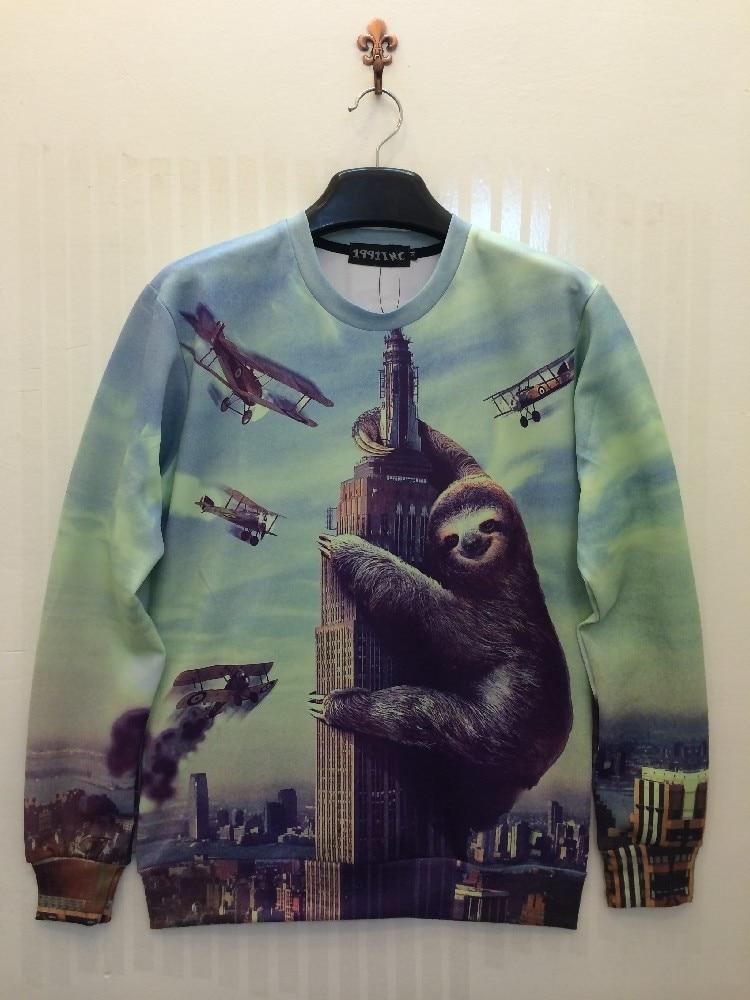 Free Shipping 2019 Sloth Sweatshirts Animals Hoodies Female Male Unisex 3D Printing Galaxy Women Sudadera