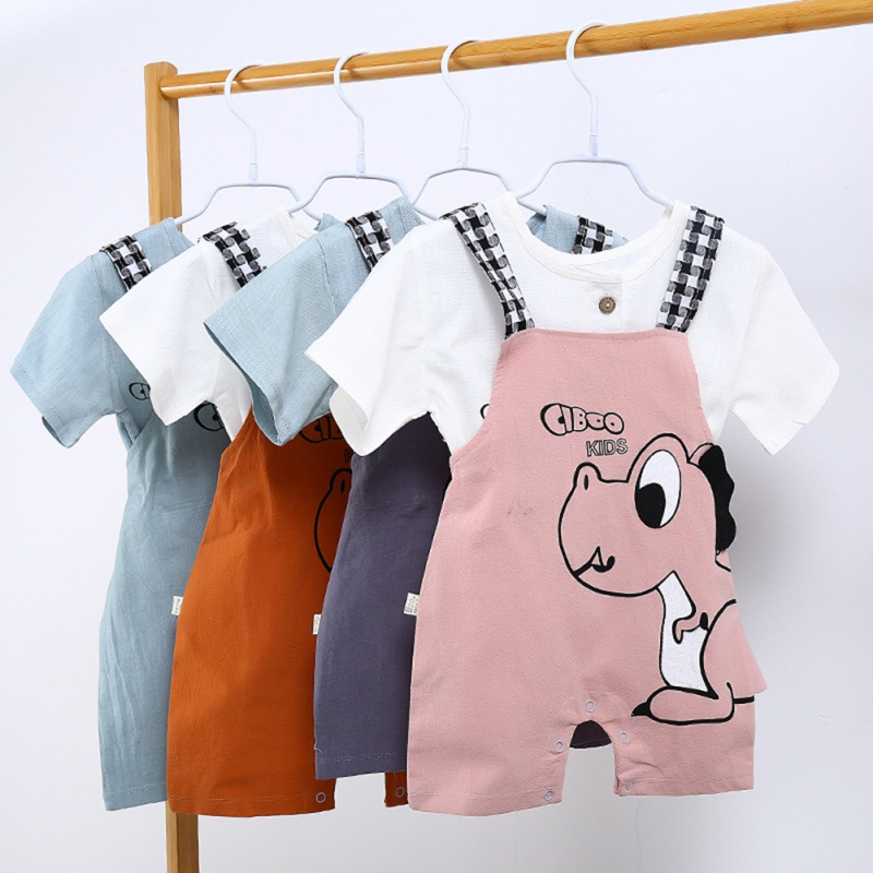 Casual Fashion Baby Girls Boys Summer Pants Cute Cartoon Printing Suspender Trousers Child Kids Overalls