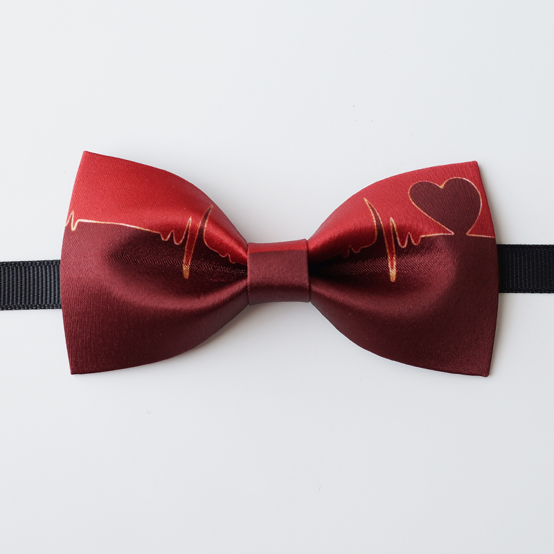 Free Shipping New Men's Male Original Wedding Groom Groomsman Annual Meeting Heartbeat Heart Love Red Gradient Texture Bow Tie