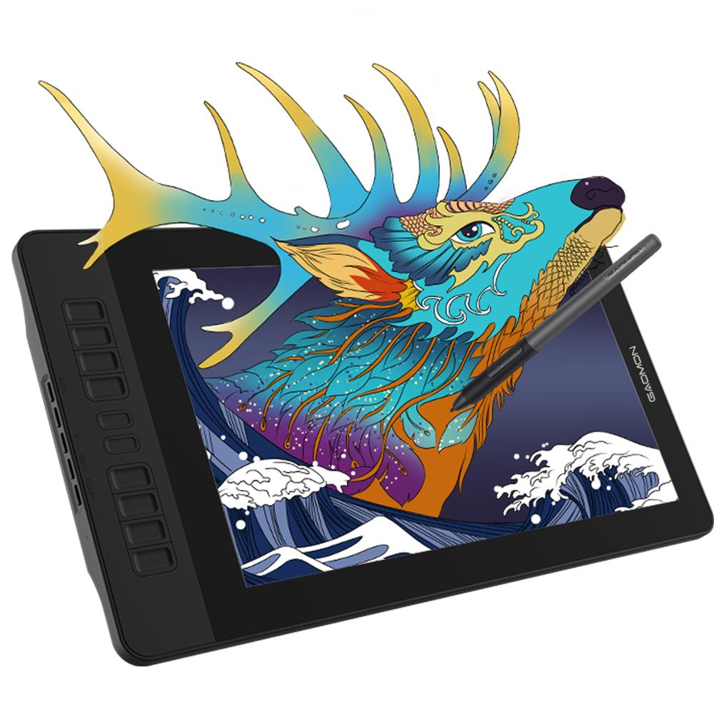 Affichage de stylo gapacket PD1561 15.6 pouces IPS HD graphique dessin tablette moniteur 72% NTSC soutien fonction d'inclinaison avec 10 touches de raccourci