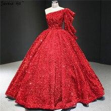 دبي فساتين زفاف بكتف واحد باللون الأحمر الخمري 2020 ترتر لامع بدون أكمام فساتين عروس مثيرة HM67098 مصنوعة حسب الطلب