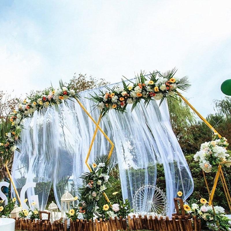 Shelf Party Wrought Props DIY Framer Decorative Round Iron Wedding Flower With Shelf Arch  Background Background Hexagonal