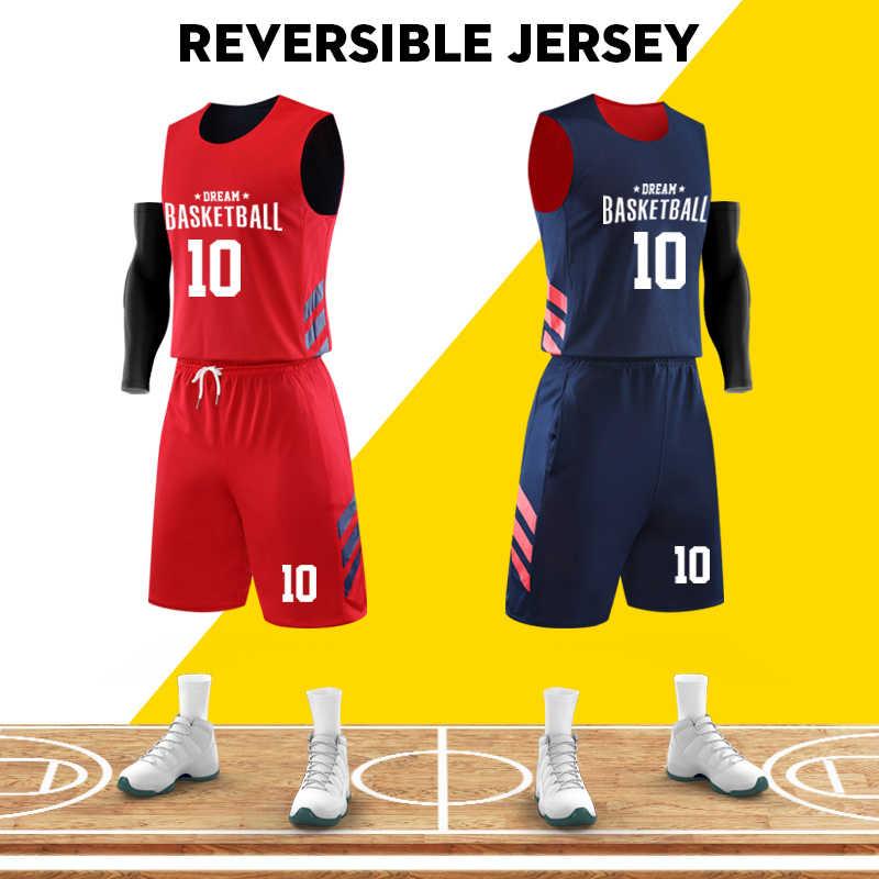 Dwustronne koszulki koszykarskie dwustronny strój koszykarski niestandardowy nadruk nazwa numer Log mężczyźni koszulka koszykarska odzież sportowa