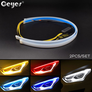 Ceyes 2pcs 12V Car Accessories DRL Daytime Running Lights LED Day Time Lights Flexible Turn Signal Headlight Lamp Strip For Auto
