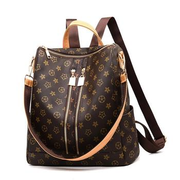 Backpack Women's Luxury Brand Design Ladies Rucksack Qualified Leather Print Pattern Double Shoulder Traval Casual Backpacks2020