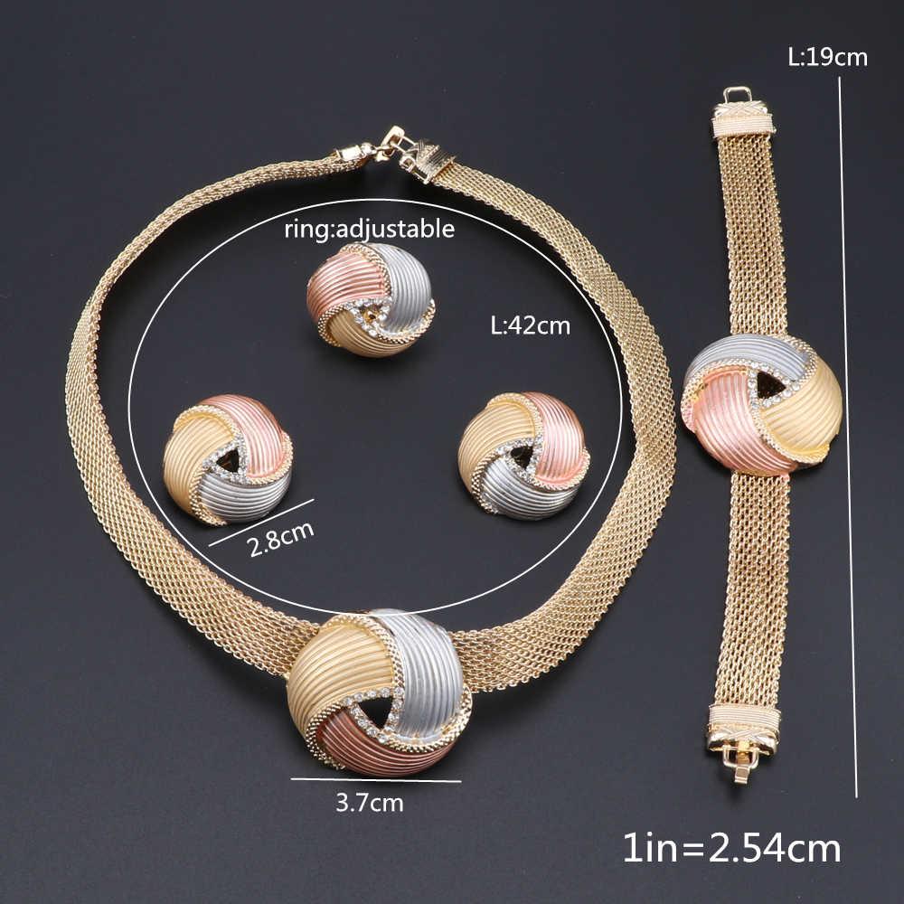 סינתיה ניגרית נשים חתונת תכשיטי סטי דובאי זהב צבע תכשיטי סטים אפריקאי נשים שרשרת עגילי צמיד תכשיטים