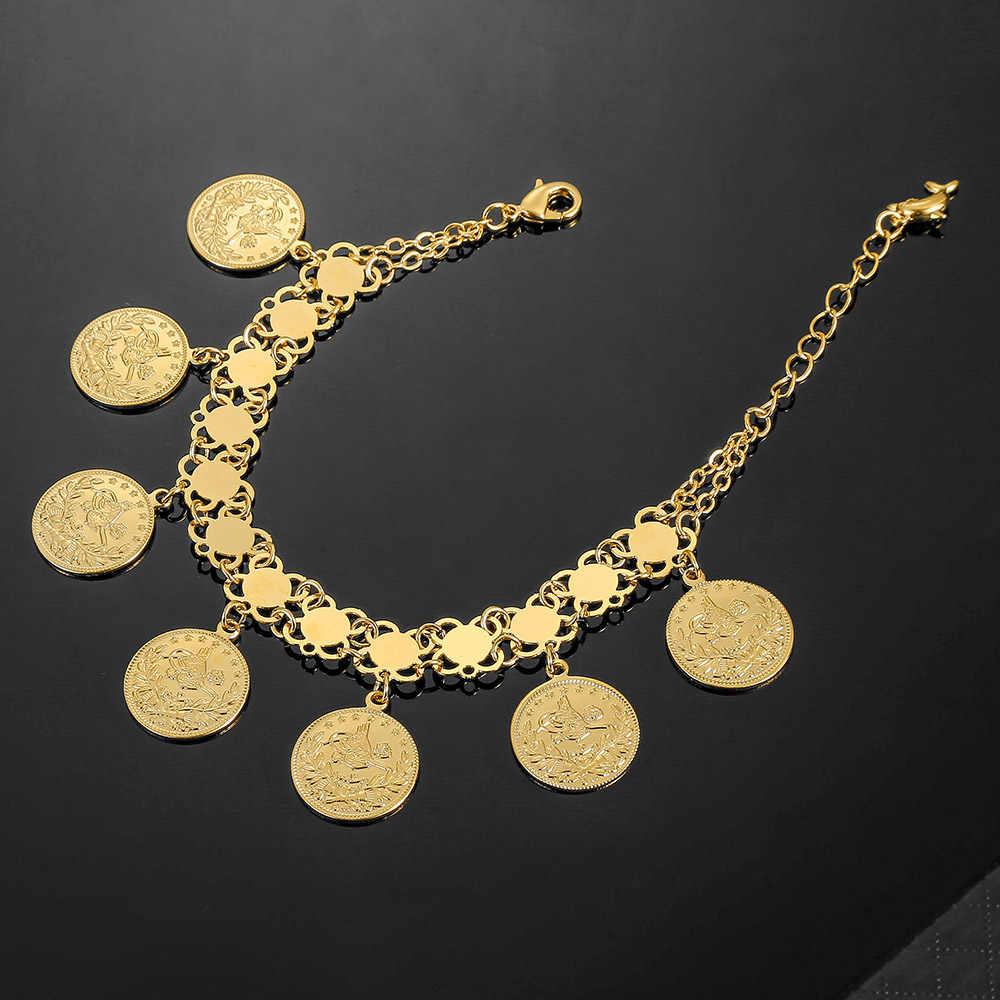 Đồng Tiền Vàng Vòng Tay Nữ Thổ Nhĩ Kỳ Allah Vòng Tay Nam Màu Vàng Ethiopia Trang Sức Châu Phi Hồi Giáo Hồi Giáo Lắc Tay Ả Rập Quà Tặng Đám Cưới