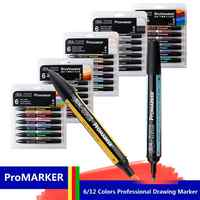 WINSOR&NEWTON Professional Marker Pen 6/12 Colors Double-side(round toe and oblique) Drawing Design Marker Pen Art Supplies