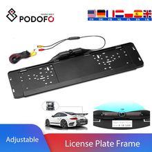 Podofo Parktronic الاتحاد الأوروبي سيارة إطار لوحة الرخصة كاميرا الرؤية الخلفية 170 درجة عكس كاميرا احتياطية مساعد صف سيارة تصفيف السيارة