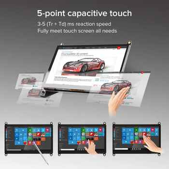 Raspberry Pi Touchscreen Monitor 7\'\' Touch Screen with HD Display IPS 1024x600 for Raspberry Pi 4 3 2 Zero B+