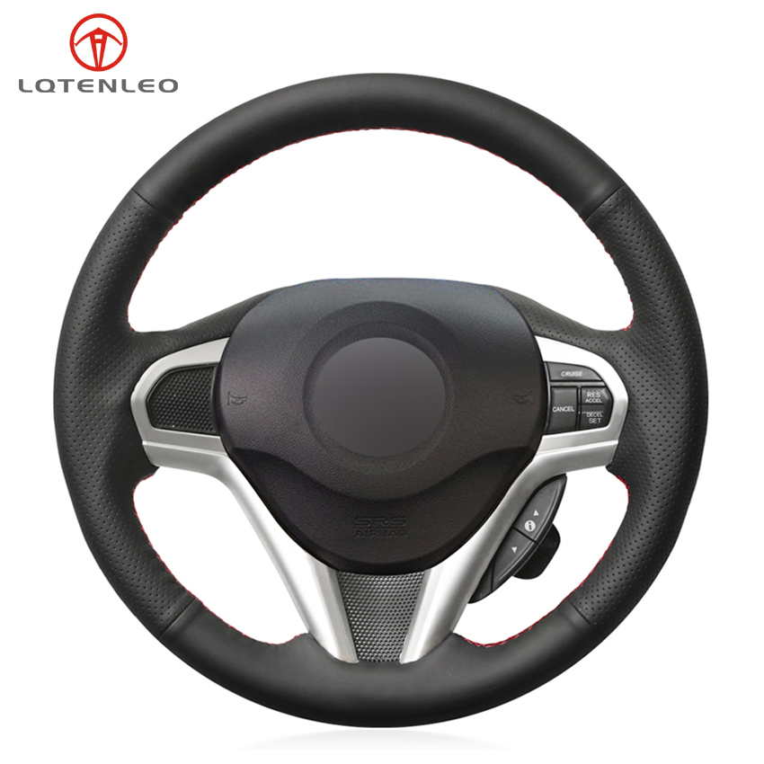 LQTENLEO DIY Hand-stitched Black PU Artificial Leather Car Steering Wheel Cover for Honda CR-Z CRZ 2011 2012 2013 2014 2015 2016