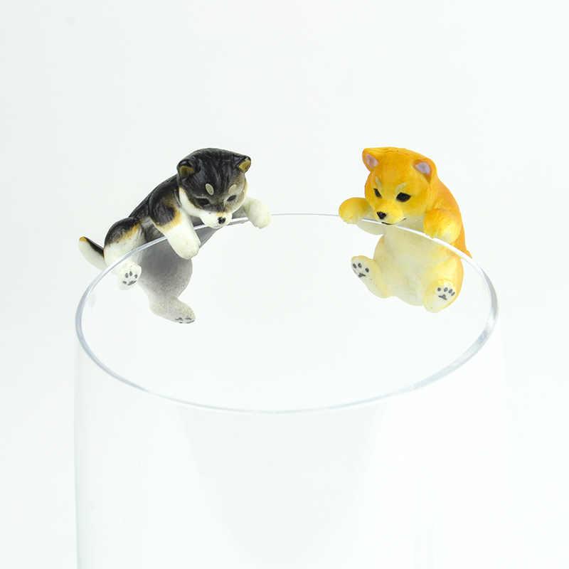 Novo bonito animais de estimação filhote de cachorro shiba inu na borda do copo de vidro modelo figuras cão estatueta presente de natal crianças brinquedo