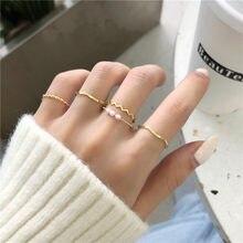 Novo minimalista 5 pçs/set onda de dobra imitação pérolas bola redonda do vintage twist chain liga anéis para as mulheres anel festa casamento