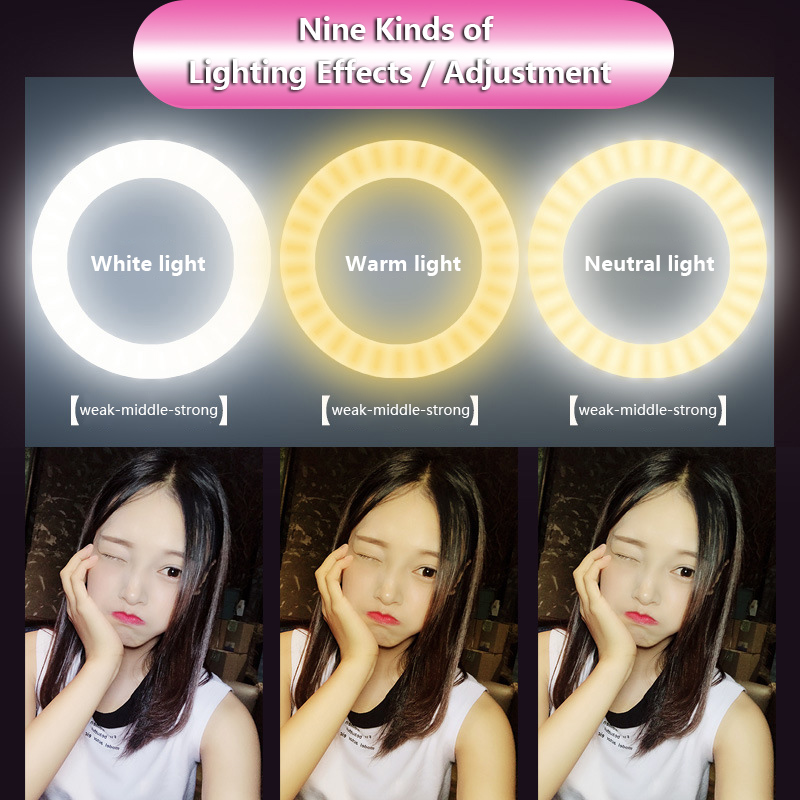 cheapest Photo LED Selfie Stick Ring Fill Light Dimmable Camera Phone Ring Lamp with Stand Tripod for Makeup Video Live Studio KQ
