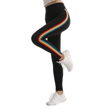 Leggings de treino feminina, com guarnição de arco íris, fitness gótica, legging feminina, cintura alta, activewear americano, original