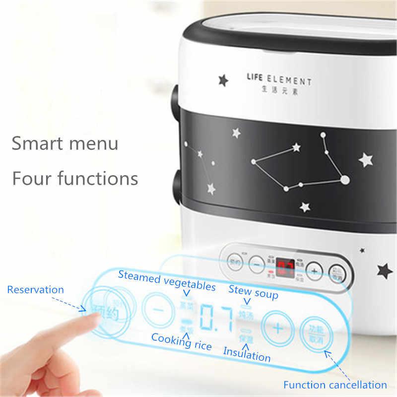 Intelligente Elettrico Scatola di Pranzo Piccolo Fornello di Riso Doppio Strato Automatico di Riscaldamento Rivestimento In Ceramica Smart Touch LCD Appuntamento di Temporizzazione