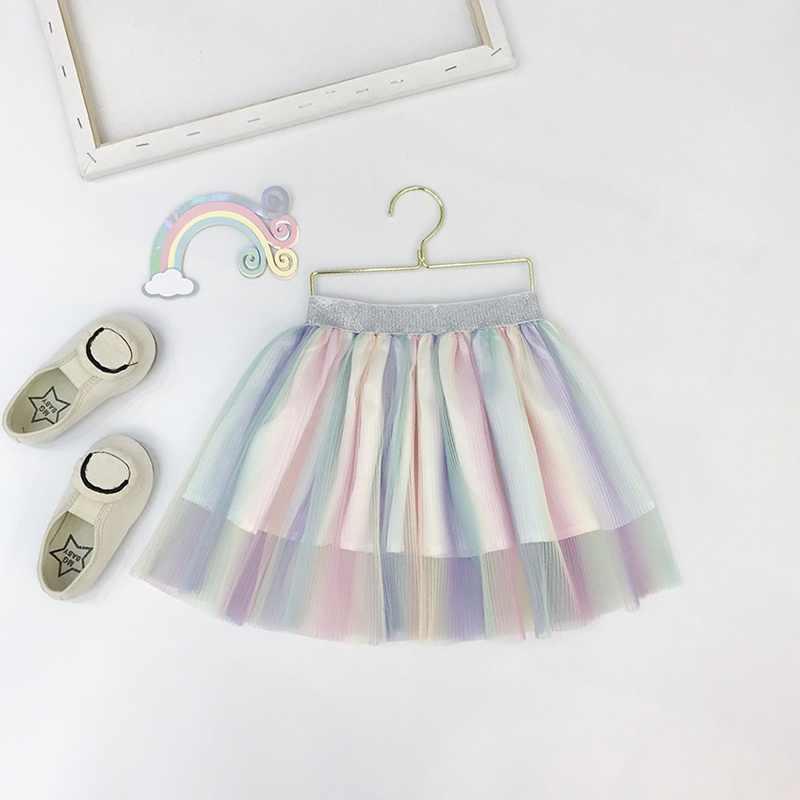 الأطفال الفتيات تنورة جميلة قوس قزح اللون شبكة منفوش فضفاض مطوي شريط مرن تنورة الأميرة طفلة