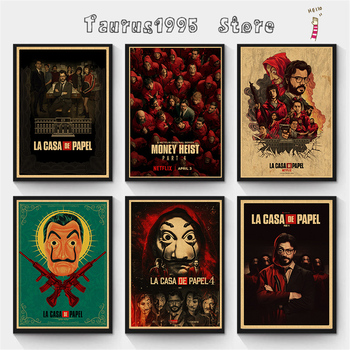 New Spanish suspense movie La casa de papel retro style kraft paper poster banknote house wall wall art decoration poster image