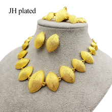 Dubai gold color jewelry sets for women Saudi Arab Necklace Bracelet earrings ring set Ethiopia African bridal wedding gifts