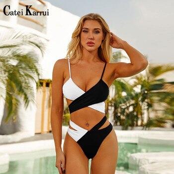 Catei Karrui 2020 new womens swimsuit bandage two color split sexy bikini essential for seaside play