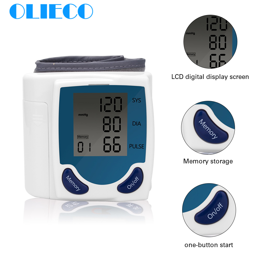 Household Automatic Digital LCD Display Wrist Blood Pressure Monitor Heart Beat Rate Pulse Meter Measure Portable Tonometer BP