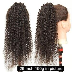 Image 2 - [Yvonne] 말레이시아 곱슬 머리 끈 포니 테일 인간의 머리카락 클립 확장 높은 비율 브라질 버진 헤어 자연 색상