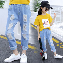 The new girls 2019 han edition of the summer about children's trousers cuhk children's summer girl cowboy hole pants цена в Москве и Питере